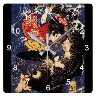 """RELOJ CUADRADO """"歌川国芳""""の""""鬼若丸の鯉退治""""の壁掛け時計"""