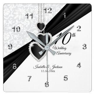 Reloj Cuadrado 10mo Ónix y recuerdo blanco del aniversario de