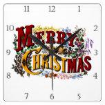 Reloj Cuadrado 1876 Felices Navidad