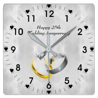 Reloj Cuadrado 25to Anillos del aniversario de bodas de plata