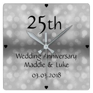 Reloj Cuadrado 25to aniversario de boda de las gotas de agua de