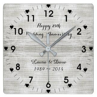 Reloj Cuadrado 25to Aniversario de bodas de plata