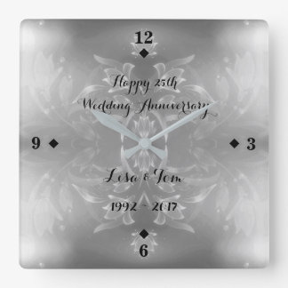 Reloj Cuadrado 25to aniversario de bodas de plata de la flor