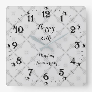 Reloj Cuadrado 25to aniversario de bodas de plata de Yin Yang