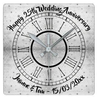 Reloj Cuadrado 25to aniversario de bodas de plata texturizado