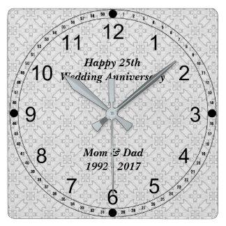 Reloj Cuadrado 25to Modelo del extracto del aniversario de bodas