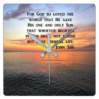 RELOJ CUADRADO 3:16 DE JUAN DE LA SALIDA DEL SOL QUE INSPIRA LA