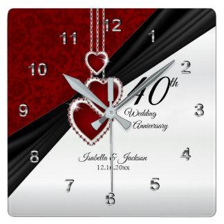 Reloj Cuadrado 40.o Recuerdo de rubíes del aniversario de boda