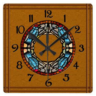 Reloj Cuadrado 4 pájaros empiedran el mosaico