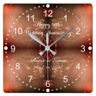 Reloj Cuadrado 50.o Aniversario de boda Brown floral