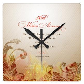 Reloj Cuadrado 50.o El aniversario de boda, señor Bless y guarda