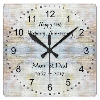 Reloj Cuadrado 50.o Modelo del mármol del aniversario de boda