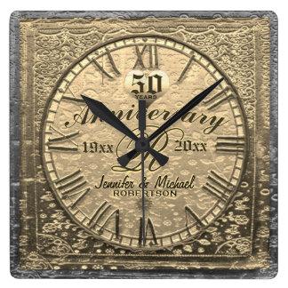 Reloj Cuadrado 50.o Vintage del aniversario de boda del oro