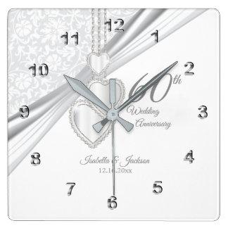 Reloj Cuadrado 60.o Recuerdo del aniversario de boda de diamante