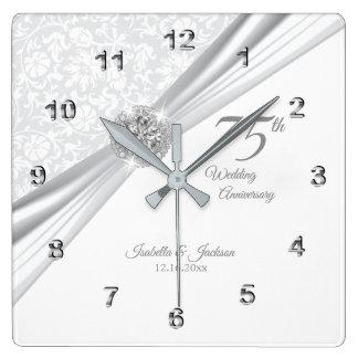 Reloj Cuadrado 75.o o 60.o recuerdo del aniversario de boda de
