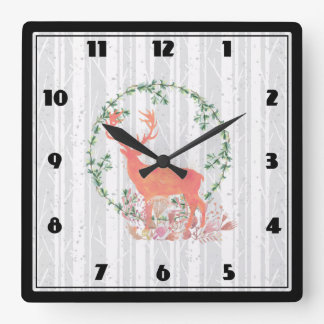 Reloj Cuadrado Acuarela rústica de Boho del reno