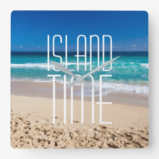 Reloj Cuadrado Agua tropical de la turquesa de la playa del