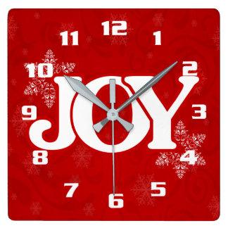 Reloj Cuadrado ALEGRÍA blanca en navidad rojo elegante
