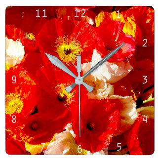 Reloj Cuadrado Amapola-gallo