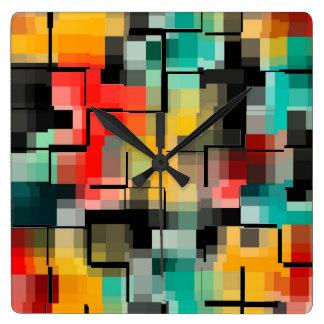 Reloj Cuadrado Amarillo azul rojo