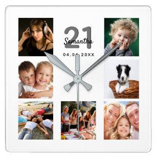 Reloj Cuadrado Amigos del collage de fotos de personalizados de 2