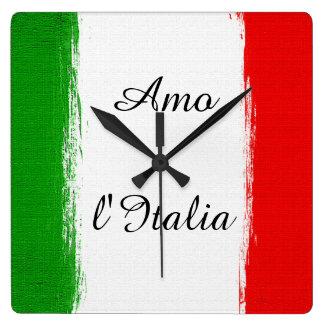 Reloj Cuadrado Amo la bandera de Italia de Italia. Texto