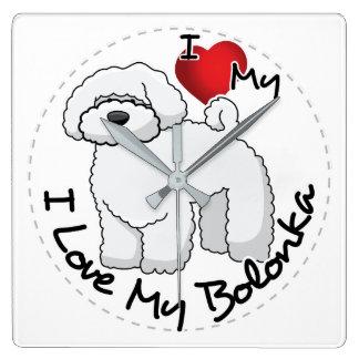 Reloj Cuadrado Amo mi perro de Bolonka