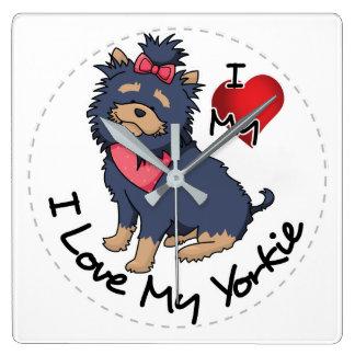 Reloj Cuadrado Amo mi perro de Yorkie