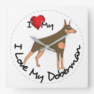Reloj Cuadrado Amo mi perro del Doberman
