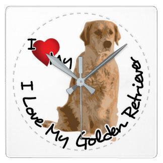 Reloj Cuadrado Amo mi perro del golden retriever