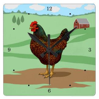Reloj Cuadrado Amo mis pollos de Barnevelder