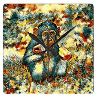 Reloj Cuadrado AnimalArt_Chimpanzee_20170603_by_JAMColors