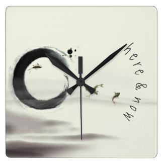 Reloj Cuadrado Aquí y ahora/pintura del cepillo de Enso Koi del