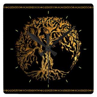 Reloj Cuadrado Árbol de Mehndi de la vida (oro)