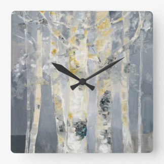 Reloj Cuadrado Árboles de abedul en el fondo gris 6