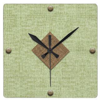 Reloj Cuadrado Arpillera moderna en menta y Brown con los botones
