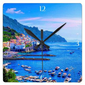 Reloj Cuadrado Arte colorido de la foto de Amalfi Italia Europa