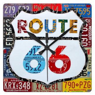 Reloj Cuadrado Arte de la placa de la ruta 66 por la carretera de