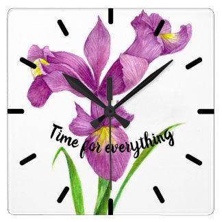 Reloj Cuadrado Arte floral botánico del iris púrpura de la
