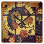 Reloj Cuadrado Arte floral victoriano elegante
