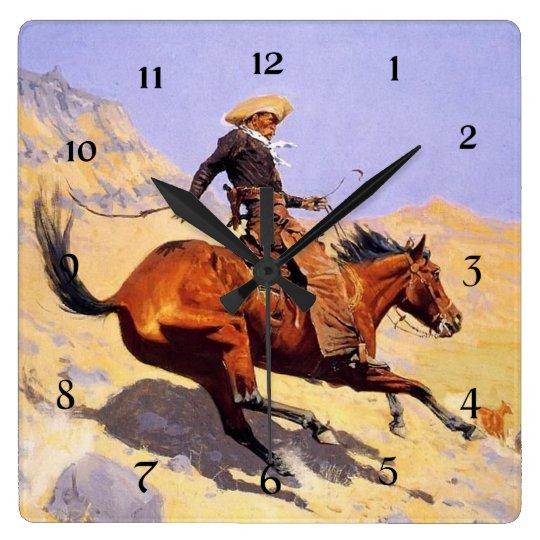 """Reloj Cuadrado Arte occidental de Federico Remington """"el vaquero"""""""