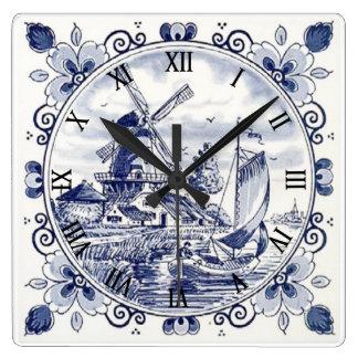 Reloj Cuadrado Azul holandés de Delft del velero del molino de