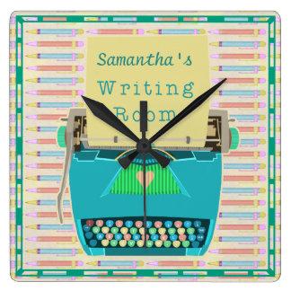 Reloj Cuadrado Azul personalizado sitio del autor de la escritura