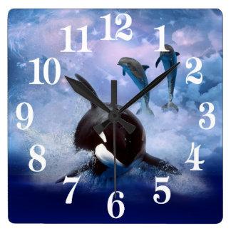 Reloj Cuadrado Ballena y delfínes soñadores