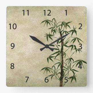 Reloj Cuadrado Bambú oriental 1 del vintage