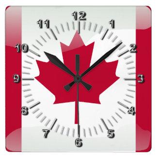 Reloj Cuadrado Bandera brillante canadiense