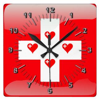 Reloj Cuadrado Bandera brillante suiza