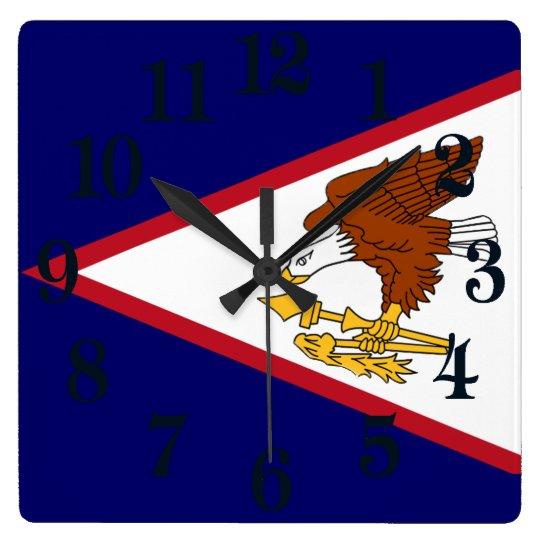 Reloj Cuadrado Bandera de American Samoa