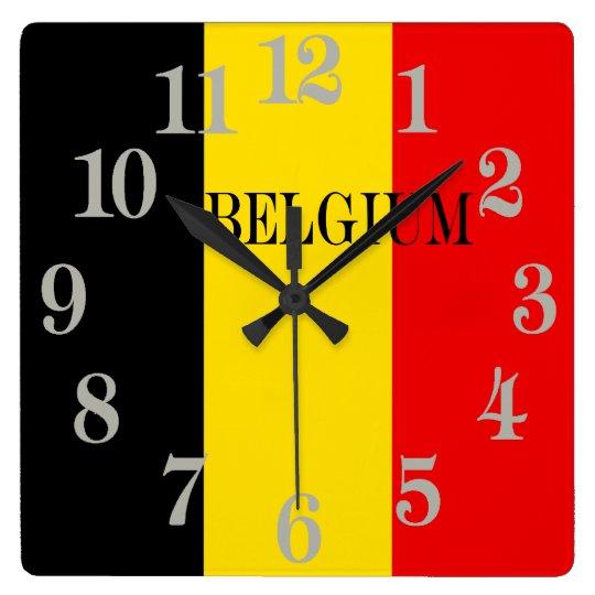 Reloj Cuadrado Bandera de Bélgica