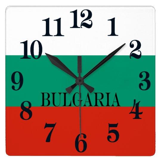 Reloj Cuadrado Bandera de Bulgaria o del búlgaro
